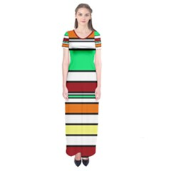 Green, Orange And Yellow Lines Short Sleeve Maxi Dress by Valentinaart