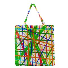 Colorful Lines Grocery Tote Bag by Valentinaart