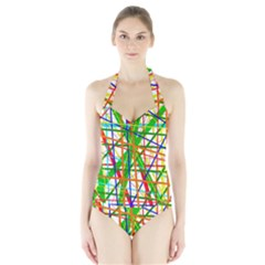 Colorful Lines Halter Swimsuit by Valentinaart