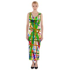 Colorful Lines Fitted Maxi Dress by Valentinaart