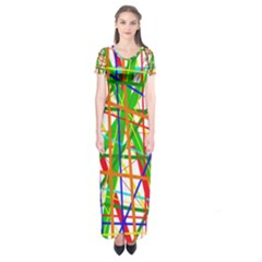 Colorful Lines Short Sleeve Maxi Dress by Valentinaart