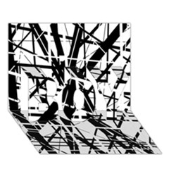 Black And White Abstract Design Boy 3d Greeting Card (7x5) by Valentinaart