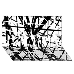 Black And White Abstract Design #1 Mom 3d Greeting Cards (8x4)  by Valentinaart