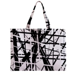 Black And White Abstract Design Zipper Mini Tote Bag by Valentinaart