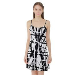Black And White Abstract Design Satin Night Slip by Valentinaart