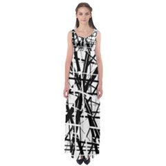 Black And White Abstract Design Empire Waist Maxi Dress by Valentinaart