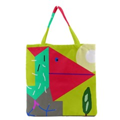 Abstract Bird Grocery Tote Bag by Valentinaart