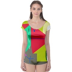 Abstract Bird Boyleg Leotard  by Valentinaart