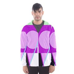 Purple Geometric Design Hooded Wind Breaker (men) by Valentinaart
