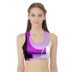 Purple Geometric Design Sports Bra With Border by Valentinaart