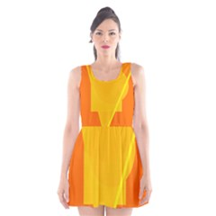 Orange Abstract Design Scoop Neck Skater Dress