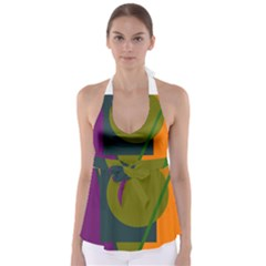 Geometric Abstraction Babydoll Tankini Top by Valentinaart