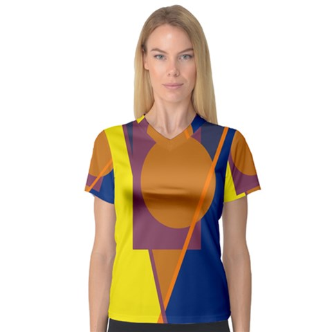 Geometric Abstract Desing Women s V-neck Sport Mesh Tee by Valentinaart
