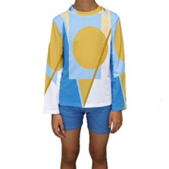Blue And Yellow Abstract Design Kid s Long Sleeve Swimwear by Valentinaart