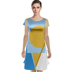 Blue And Yellow Abstract Design Cap Sleeve Nightdress by Valentinaart