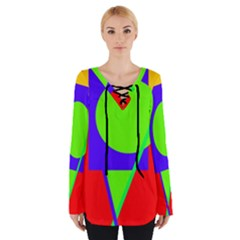 Colorful Geometric Design Women s Tie Up Tee by Valentinaart