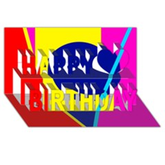 Colorful Geometric Design Happy Birthday 3d Greeting Card (8x4)  by Valentinaart