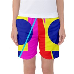 Colorful Geometric Design Women s Basketball Shorts by Valentinaart