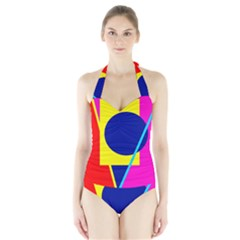 Colorful Geometric Design Halter Swimsuit by Valentinaart