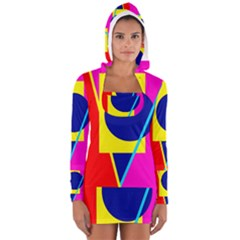 Colorful Geometric Design Women s Long Sleeve Hooded T Shirt by Valentinaart