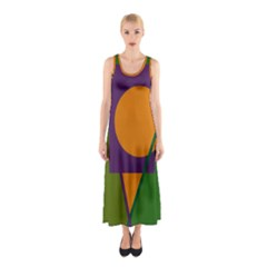 Green And Orange Geometric Design Sleeveless Maxi Dress by Valentinaart