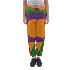 Green And Orange Geometric Design Women s Jogger Sweatpants by Valentinaart