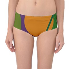 Green And Orange Geometric Design Mid-waist Bikini Bottoms by Valentinaart