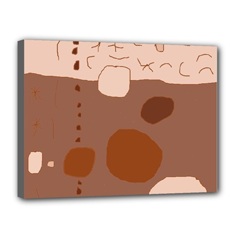 Brown Abstract Design Canvas 16  X 12  by Valentinaart