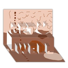 Brown Abstract Design Get Well 3d Greeting Card (7x5)