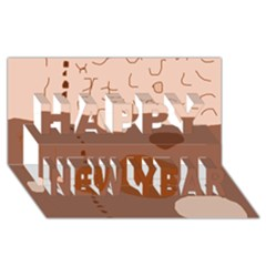 Brown Abstract Design Happy New Year 3d Greeting Card (8x4)  by Valentinaart