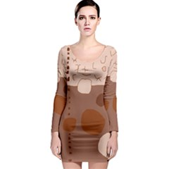 Brown Abstract Design Long Sleeve Bodycon Dress by Valentinaart