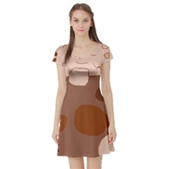Brown Abstract Design Short Sleeve Skater Dress by Valentinaart