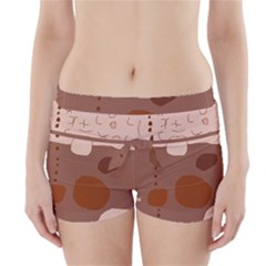 Brown Abstract Design Boyleg Bikini Wrap Bottoms by Valentinaart