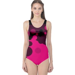 Pink Dots One Piece Swimsuit by Valentinaart