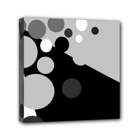Gray Decorative Dots Mini Canvas 6  X 6  by Valentinaart