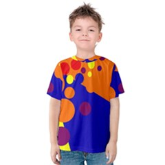 Blue And Orange Dots Kid s Cotton Tee by Valentinaart
