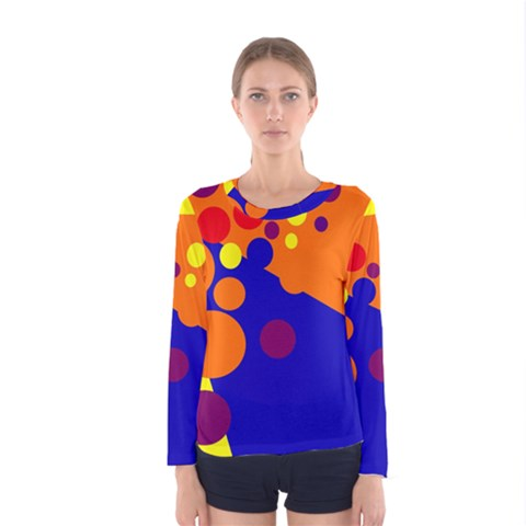 Blue And Orange Dots Women s Long Sleeve Tee by Valentinaart