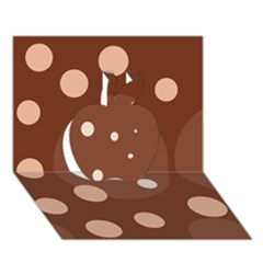 Brown Abstract Design Apple 3d Greeting Card (7x5)