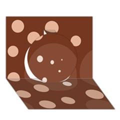 Brown Abstract Design Circle 3d Greeting Card (7x5)  by Valentinaart