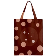 Brown Abstract Design Zipper Classic Tote Bag by Valentinaart