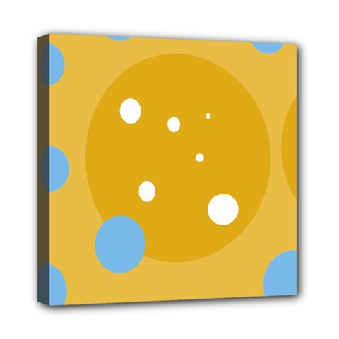Blue And Yellow Moon Mini Canvas 8  X 8  by Valentinaart