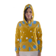 Blue And Yellow Moon Hooded Wind Breaker (women) by Valentinaart