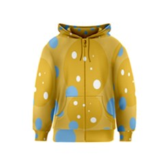 Blue And Yellow Moon Kids  Zipper Hoodie by Valentinaart
