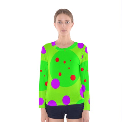 Green And Purple Dots Women s Long Sleeve Tee by Valentinaart