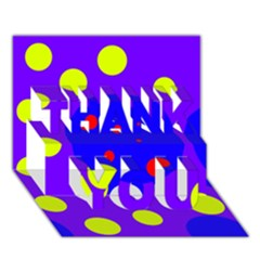 Purple And Yellow Dots Thank You 3d Greeting Card (7x5)