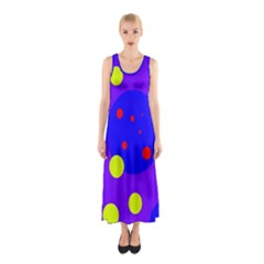 Purple And Yellow Dots Sleeveless Maxi Dress by Valentinaart