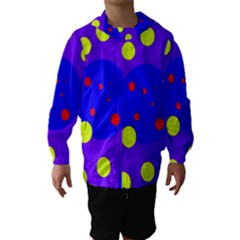 Purple And Yellow Dots Hooded Wind Breaker (kids) by Valentinaart