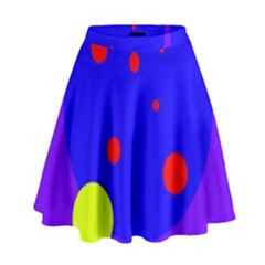 Purple And Yellow Dots High Waist Skirt by Valentinaart