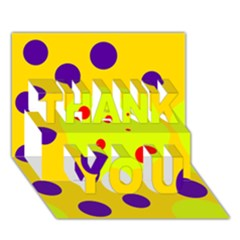 Yellow And Purple Dots Thank You 3d Greeting Card (7x5)  by Valentinaart