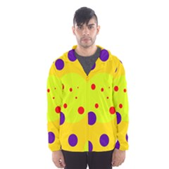 Yellow And Purple Dots Hooded Wind Breaker (men) by Valentinaart